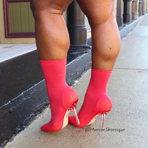 Red (red/orange) Knit Sock Ankle Booties